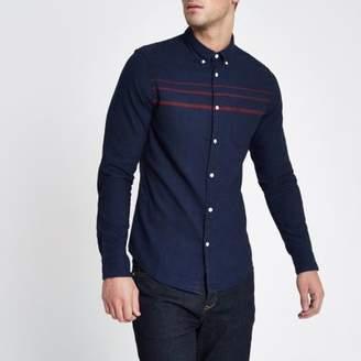 Wrangler Mens navy stripe long sleeve pocket shirt