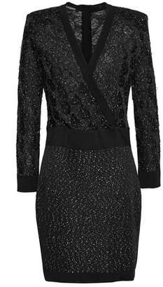 Balmain Wrap-Effect Sequined Stretch-Knit Mini Dress