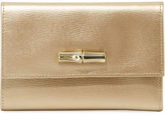 Longchamp Roseau Small Metallic Leather Wallet