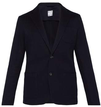 Altea Single Breasted Knitted Cotton Blazer - Mens - Navy