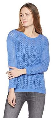 True Angel Women's Crew Neck Pointelle Long Sleeve Pullover Sweater S