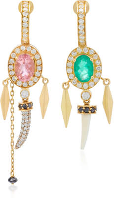 Hirsch Aron & Hamar Asymmetric 18K Gold Multi-Stone Earrings