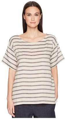 Eileen Fisher Ballet Neck Top Women's Short Sleeve Pullover