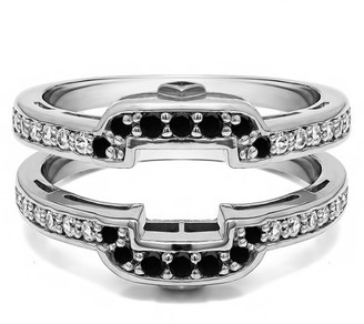Twobirch TwoBirch 0.49 Ct. Square Halo Peek-a-Boo Wedding Ring Guard In 10k Solid Gold and Black and White Diamonds (G I2)