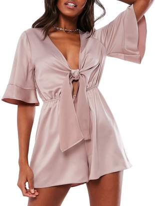 Missguided Flared-Sleeve Satin Romper