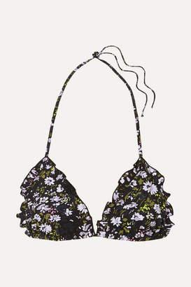 Ganni Ruffled Floral-print Triangle Bikini Top - Black