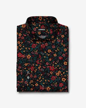 Express Slim Mixed Floral Dress Shirt