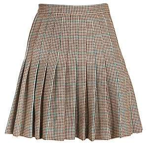 Off-White Women's Check Pleated Wool Mini Skirt