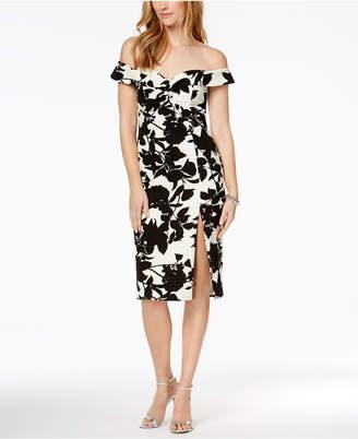Bardot Floral Print Off-The-Shoulder Slit Midi Dress