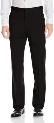 Haggar Men's Premium Stretch Solid Gabardine Expandable Waist Plain Front Dress Pant