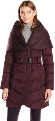 T Tahari Women's Matilda Zip Down Coat with Shawl Hood