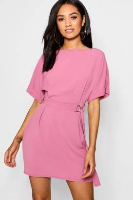 boohoo Petite Turn Up Sleeve Waist Woven Shift Dress