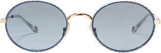 Givenchy Blue Round Metal Sunglasses