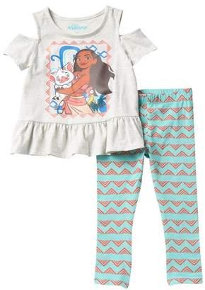 HAPPY THREADS Moana Cold Shoulder Short Sleeve Top & Legging Set (Little Girls)