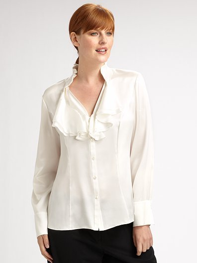 Lafayette 148 New York, Salon Z Silk Charmeuse Blouse