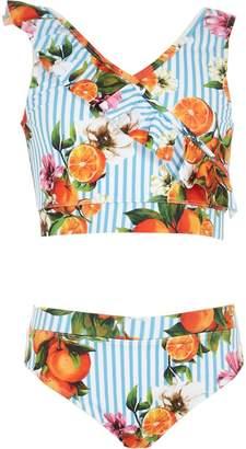 River Island Girls blue stripe frill fruit tankini