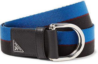 Prada 3.5cm Saffiano Leather-Trimmed Striped Canvas Belt