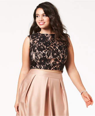 City Chic Trendy Plus Size Lace Crop Top