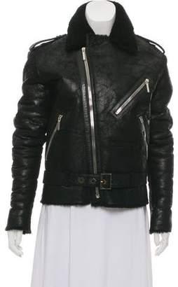 Anthony Vaccarello Shearling Lambskin Moto Jacket