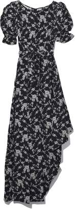 Co Balloon Sleeve Asymmetrical Dress in Black/Ivory