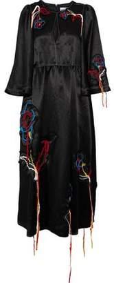 Sonia Rykiel Embroidered Textured-Satin Midi Dress
