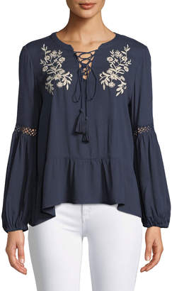 Lost + Wander Livee Lace-Up Embroidered Peasant Blouse