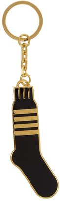 Thom Browne Gold and Black 4-Bar Stripe Sock Keychain