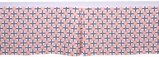 Bacati Olivia Tribal Dots/Cross Coral/Navy Tailored with 100% Cotton Percale 13 inch drop Crib/Toddler Bed Skirt