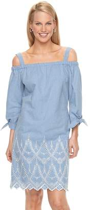 Jessica Howard Women's Off-the-Shoulder Embroidered Shift Dress
