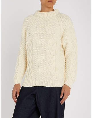 Loewe Logo-embroidered cable-knit wool jumper