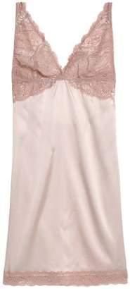 Mimi Holliday Lace-Paneled Cutout Stretch Silk-Satin Chemise
