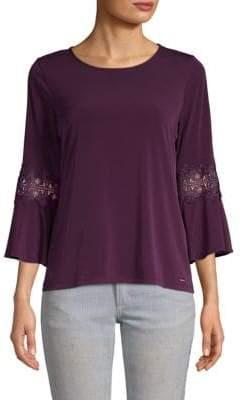 Calvin Klein Lace Three-Quarter Sleeve Top