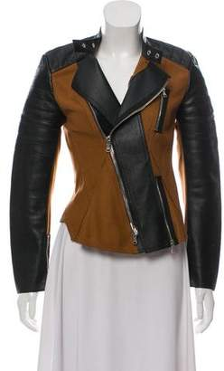 3.1 Phillip Lim Wool Knit & Leather Zip-Up Jacket
