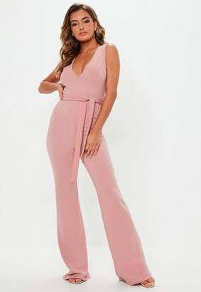 Missguided Pink Plunge Sleeveless Wide Leg Jumpsuit, Pink