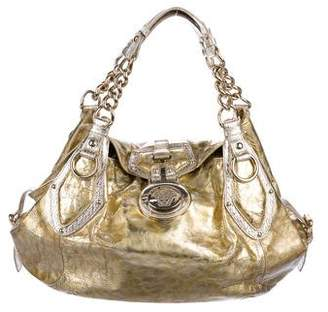 Versace Crinkled Metallic Leather Shoulder Bag