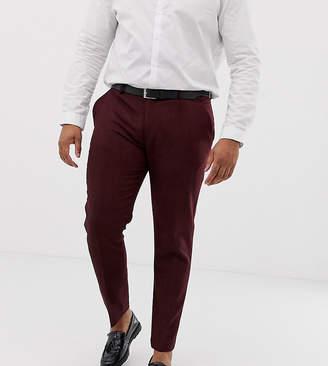 Asos Design DESIGN Plus wedding skinny suit pants in burgundy wool mix herringbone