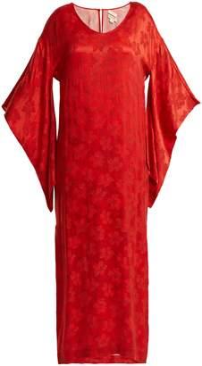 CHUFY Floral-jacquard kimono-sleeved dress