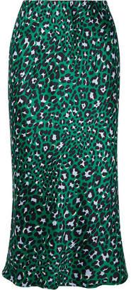 Olivia von Halle Isla Leopard-print Silk-satin Midi Skirt - Emerald