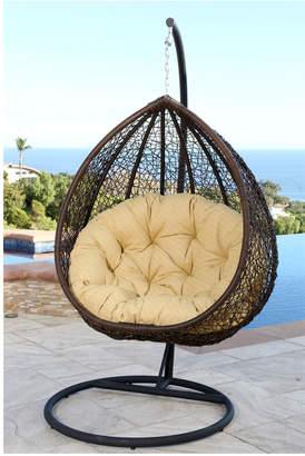 Abbyson Living Newport Outdoor Brown Wicker Swing Chair