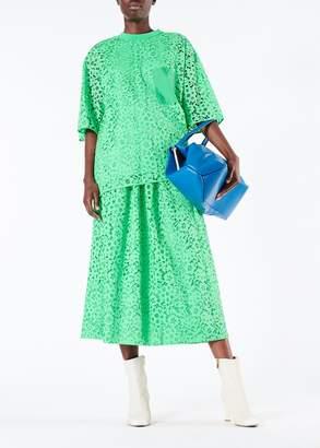 Tibi Lace Shirred Waistband Full Skirt