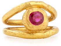 Jean Mahie Fleur 22K Gold Ruby Ring, Size 6