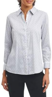 Foxcroft Geometric Cotton Button-Down Shirt