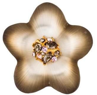 Alexis Bittar Lucite & Crystal Flower Brooch