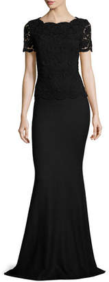 St. John Collection Rumba Knit Lace-Bodice Short-Sleeve Gown, Caviar $2,795 thestylecure.com
