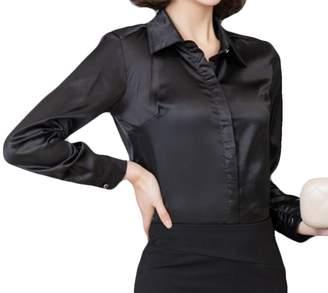 0d987f043 JXG Women Classic Button-Down Shirt Satin Silk Long Sleeve Blouse Top US XS