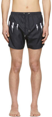 7a70bfdd9d Neil Barrett Navy Lightning Bolt Wings Swim Shorts