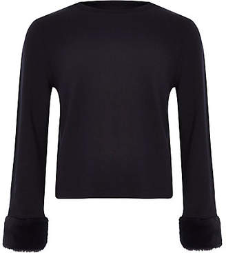 River Island Girls navy faux fur cuff top