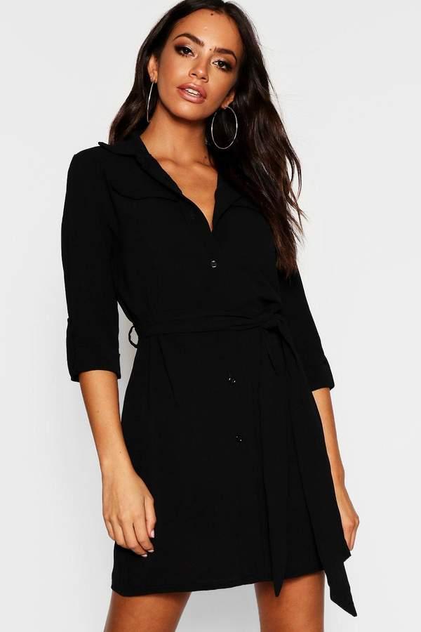 Pocket Detail Roll Sleeve Shirt Dress