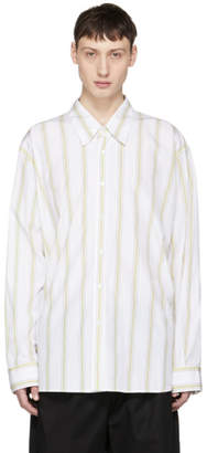 Marni White and Yellow Striped Sport Shirt