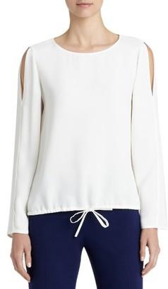 Women's Lafayette 148 New York Maxina Silk Cold Shoulder Blouse $448 thestylecure.com